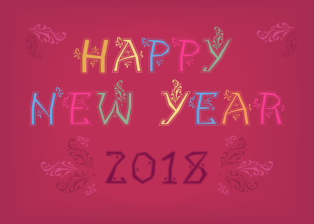 Happy New Year 2018. Folk geometric artistic font. Colorful letters with geometric decor. Purple numerals. Vector Illustration