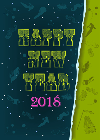Happy New Year 2018. Artistic retro yellow font. Pink number 2018. Vintage items and ragged edge of paper. Illustration