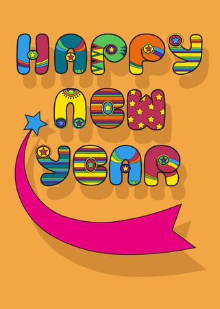 Happy New Year. Inscription by artistic font. Colorful disco letters. Blue star with pink tail with place for custom text. Best Wishes. Vector illustration
