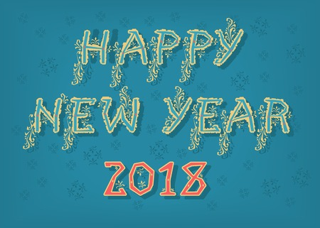 Happy New Year 2018. Folk geometric artistic font. Yellow letters with botanical decor. Red numerals. Vector Illustration Çizim