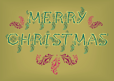 Merry Christmas. Country font. Green letters with yellow botanical decor. Pink and purple patterns. Vector Illustration