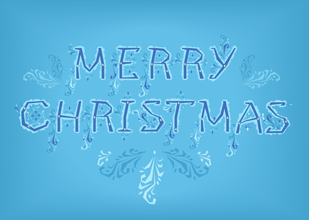 Merry Christmas. Country font. Blue letters with ice decor. Vector Illustration Çizim