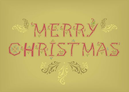 Merry Christmas. Country font. Red letters with botanical decor. Vector Illustration Çizim