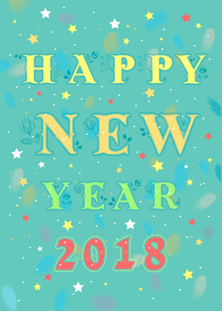 Happy New Year 2018. Artistic graceful floral font and red number 2018. Watercolor background and colorful small stars. Illustration