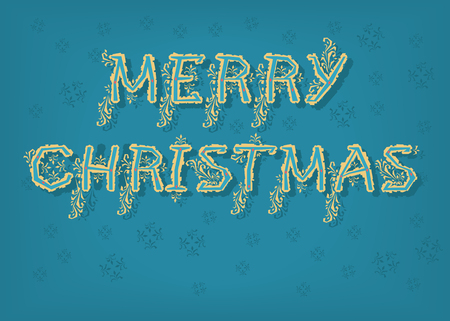 Merry Christmas. Country font. Blue letters with yellow botanical decor. Vector Illustration
