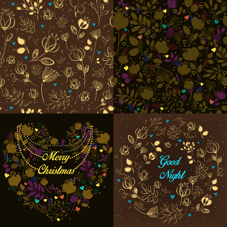 Brown festive cards with floral heart, round and seamless patterns. Heart with necklace and text Merry Christmas. Ring with text Good night. Delicate silhouettes of flowers and plants. Drawing effect