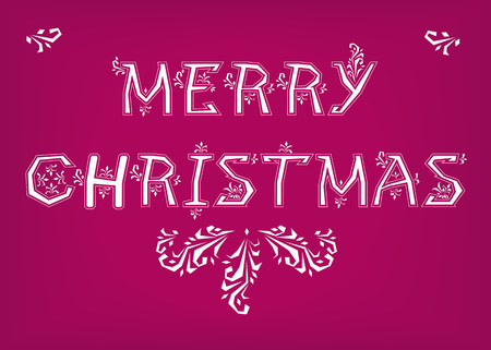 Merry Christmas. Country font. White letters with snowy decor. Vector Illustration