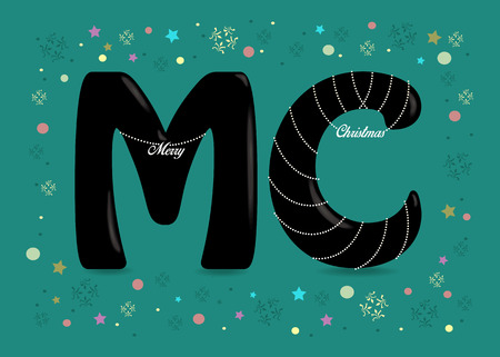 Merry Christmas. Big Black letters - M and C. White pearl collars and texts as pendats. Frame of colorful stars, confetti and snowflakes. Green background. Vector Illustration Illustration