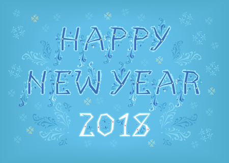 Happy New Year 2018. Folk geometric artistic font. Blue letters with ice decor. White numerals. Background with snowfall. Illustration Stock Photo
