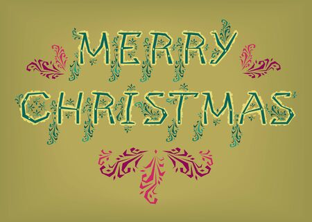 Merry Christmas. Country font. Green letters with yellow botanical decor. Pink and purple patterns. Illustration