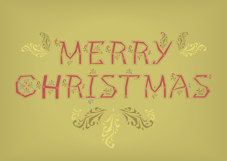Merry Christmas. Country font. Red letters with botanical decor. Illustration