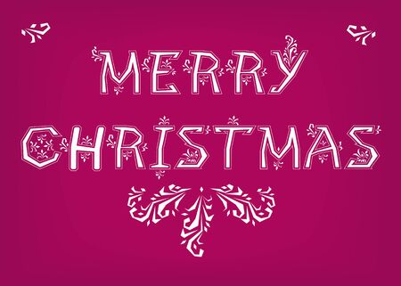 Merry Christmas. Country font. White letters with snowy decor. Illustration