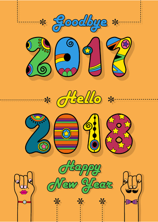 Goodbye 2017. Hello 2018. Happy New Year. Numbers by artistic font. Colorful numerals with bright decor. Cartoon male and female hands looking at each other. Vector Illustration Illustration