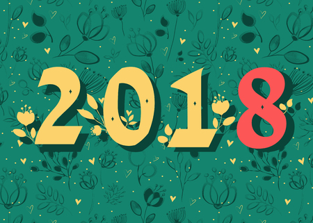 Number 2018. Yellow and red numerals with floral decor. Green background with flowers and hearts. Illustration Zdjęcie Seryjne