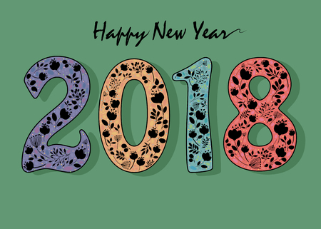 Happy New Year 2018 in Floral designs Vector Illustration Illustration