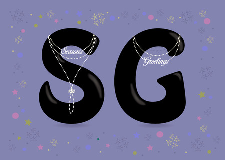 Seasons Greetings. Black letters - S and G. White pearl collars and texts as pendats. Frame of colorful stars and snowflakes. Purple background. Vector Illustration
