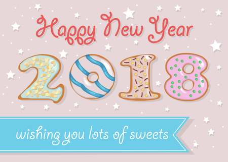 Happy New Year 2018. Numerals are as sweet white chocolate donuts. Blue banner with text Wishing you lots of sweets. Pink background with stars and spray. Illustration