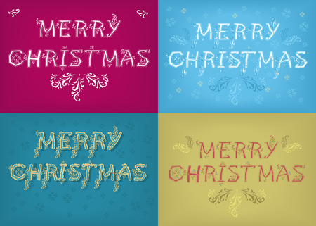 Merry Christmas. Four retro cards with inscriptions by artistic font and country patterns. Vector Illustration.