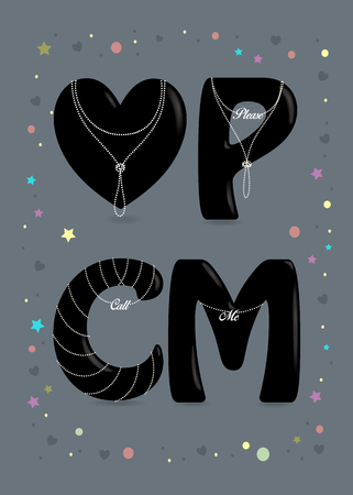 Please Call Me. Black big heart and letters - P, C and M. Pearl collars with texts as pendants. Colorful frame of stars, confetti and hearts. Gray Background. Vector Illustration Illustration