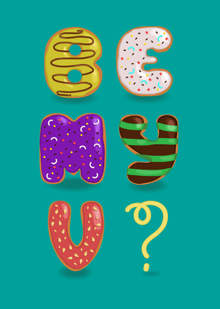 Be My Valentine. Colorful sweet donuts are as funny letters. Question mark is by yellow cream. Vector illustration