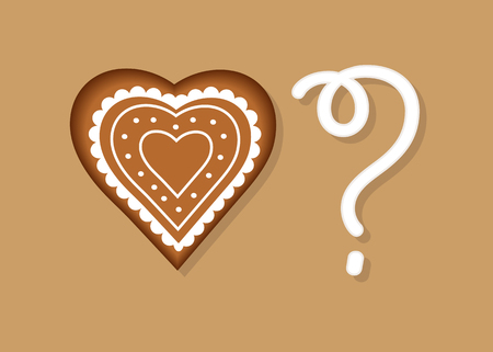 Be my Valentine. Gingerbread Heart and White cream Question Mark. Vector Illustration