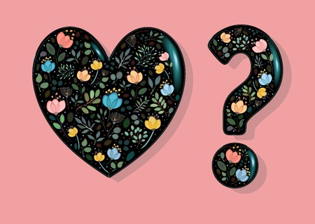 Black Glared Heart and Question Mark with floral decor - watercolor graceful flowers and plants. Illustration