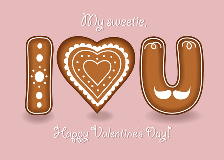 I love you. Gingerbreads letters and heart with white cream decor. My sweetie, Happy Valentines Day. Illustration