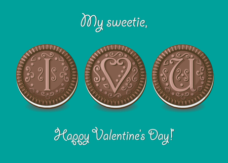 I love you. Chocolate cookies with graceful decor. My sweetie, Happy Valentines Day. Illustration