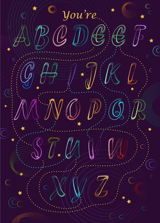 Artistic alphabet with encrypted romantic message - You are my Universe. Neon colorful letters. Purple background is as a night sky with bright stars and planets. Vector Illustration Illustration