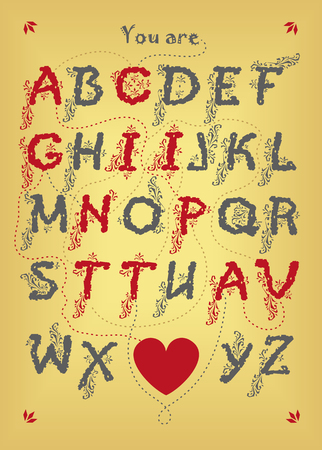Artistic alphabet with encrypted romantic message - You are captivating. Gray and red letters with botanical decor. Big heart is as the end of the message. Yellow background. Vector Illustration