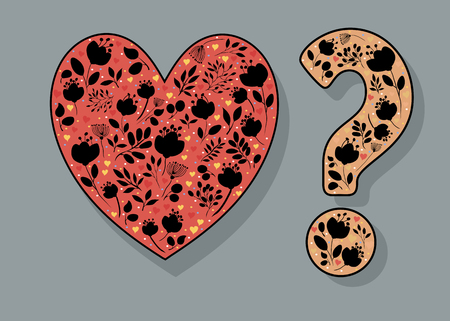 Red Heart and Yellow Question Mark with black floral decor and watercolor blurs. Illustration