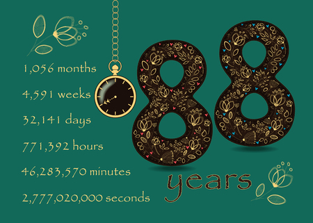Number Eighty Eight with yellow floral decor and hearts. Years break down into months, weeks, days, hours, minutes and seconds. Two graceful flowers. Pocket watch shows twenty to nine oclock Ilustração