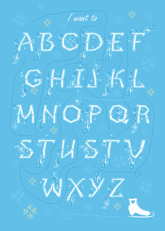 Artistic alphabet with encrypted romantic message I want to take this slow. White letters with frost decor. Graceful snowfall. White skate is as the end of message. Vector Illustration Illustration