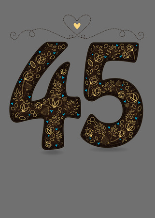 Brown Floral Number Fourty Five. Yellow flowers and plants with drawing effect and small blue hearts. Gray background and graceful vignette with heart. Place for custom text. Card for anniversary