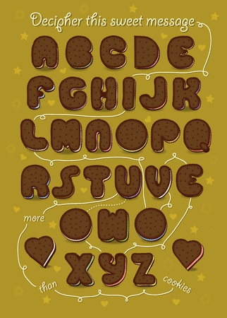 Artistic alphabet with encrypted romantic message I love you more than cookies. Brown letters as chocolate biscuits. Texts and arrows as white cream. Vector Illustration