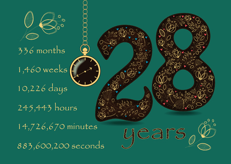 Artistic brown number Twenty Eight with yellow floral decor and hearts. Years break down into months, weeks, days, hours, minutes and seconds. Pocket watch shows twenty to three oclock Banco de Imagens