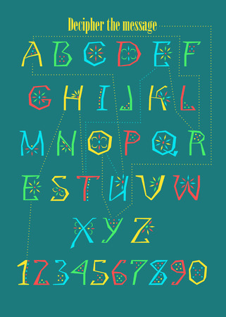 Artistic alphabet with encrypted romantic message You are the one. Colorful letters and numerals with geometric decor. Vector Illustration