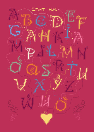 Artistic alphabet with encrypted romantic message I am mad about you. Colorful letters with geometric decor. Yellow heart is as the end of the text. Vector Illustration