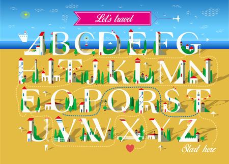 Alfabeto artistico con messaggio romantico criptato Let is travel together. Lettere bianche come case sulla spiaggia estiva. Il cuore rosso è come la fine del testo. Banner rosa con aereo. Illustrazione vettoriale Vettoriali