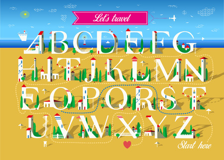 Artistic alphabet with encrypted romantic message Let is travel together. White letters as houses on the summer beach. Red heart is as the end of the text. Pink banner with plane. Vector Illustration
