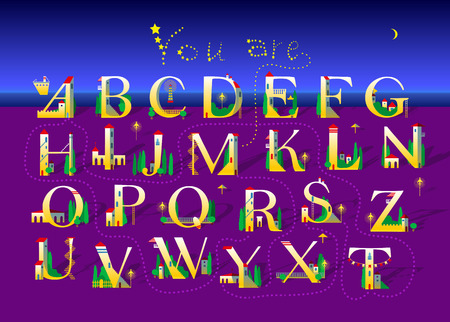 Artistic alphabet with encrypted romantic message You are my star. White lettersas houses on the night summer beach. Words by stars in the sky. Vector Illustration
