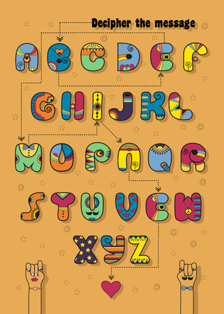 Artistic alphabet with encrypted romantic message Be Mine. Cartoon Disco letters with bright decor. Funny hands looking at each other. Red heart is as the end of message. Illustration Stock Photo
