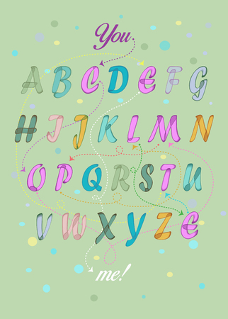 Artistic alphabet with encrypted romantic message - You complete me. Colorful letters with watercolor effect. Green background. Illustration