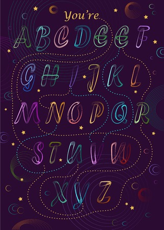 Artistic alphabet with encrypted romantic message - You are my Universe. Neon colorful letters. Purple background is as a night sky with bright stars and planets. Illustration