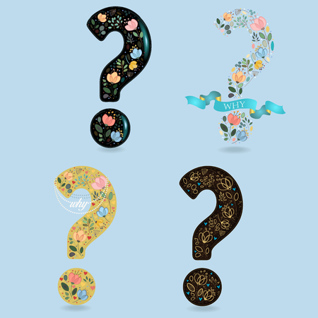 Set of Floral Question Marks. Watercolor flowers and plants. Illustration