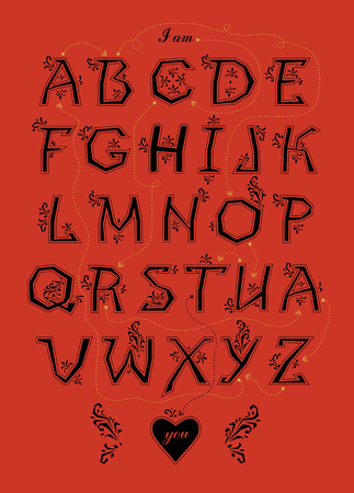 Artistic alphabet with encrypted romantic message I am crazy about you. Illustration