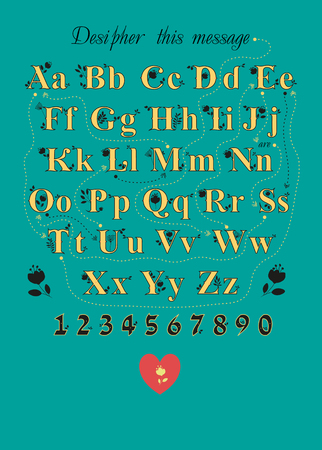 Artistic alphabet with encrypted romantic message We are soulmates. Yellow letters with black floral decor.