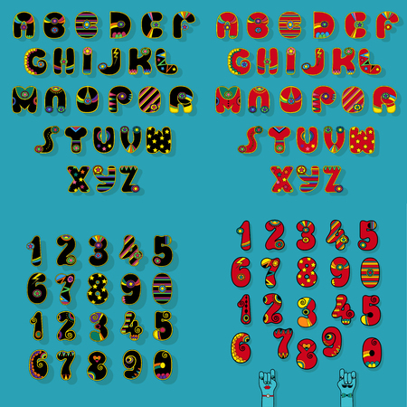 Set of Letters and Numbers. Black and Red Disco Alphabets with bright decor. Cartoon hands looking at each other. Vector Illustration