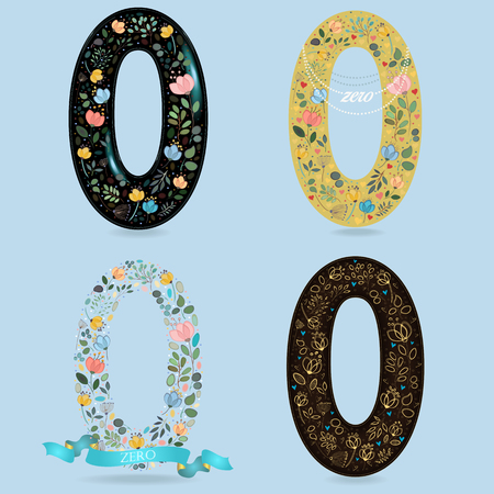 Set of Number Zero with Retro Floral Decor. Watercolor flowers and plants. Yellow - with Pearl Necklace. Blue - with ribbon. Brown - with yellow decor. Illustration