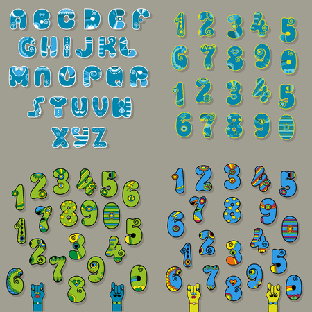 Set of Letters and Numbers. Blue and Green Alphabets with oriental decor. Cartoon hands looking at each other. Vector Illustration